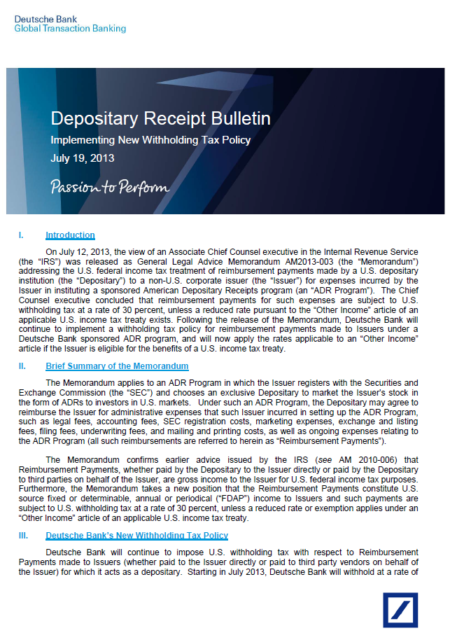 american depository receipt global depository receipts We assist issuers, depositary banks and other market participants from around the globe on a wide range of corporate, legal and financial issues related to the establishment and maintenance of american (adr), global (gdr) and hong kong (hkdr) depositary receipt programs, as well as on other comparable jurisdictional programs (bdrs, sdrs, etc.